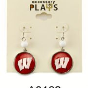Red and White UW Earrings